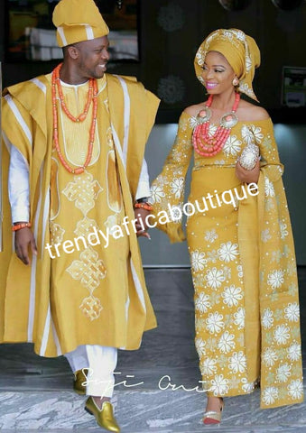 Embriodery and rhinestones Custom-made aso-oke  set for couple or 4pcs set for woman. Only made on order. Gold/white combinations or any color of your choice. Processing time is 6-8 weeks