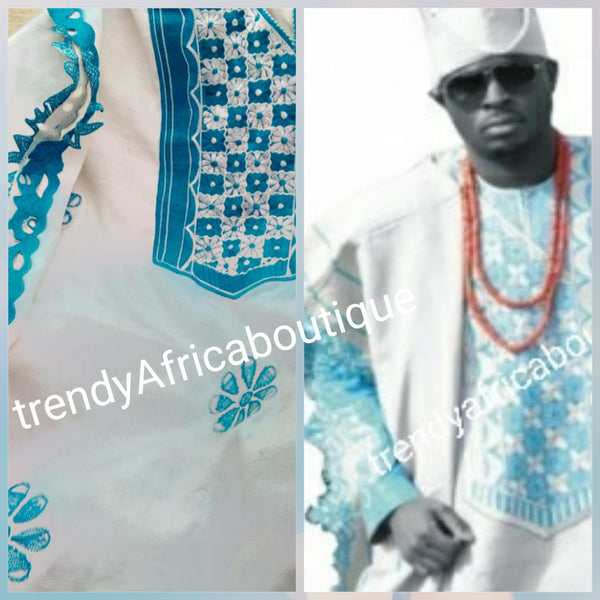 Agbada set for men. made-to-order Nigerian Traditional embriodery Aso-oke set for Men/Groom. Custom-made  design. Can be produce in any color combinations of your choice. This is white/turqoise blue.  4pcs set or 2 pc set. Allow 6-8 weeks for production