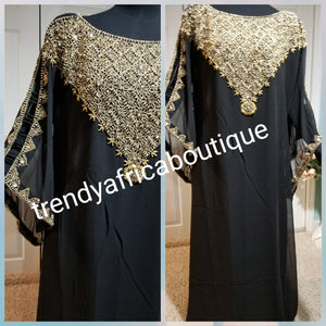 Black beaded and stones Dubai kaftan dress. Kaftan bubu free flowing dress for special occasion. One size fit up to 1XL.