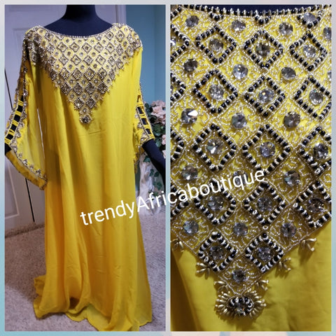 Yellow Long free flowing kaftan dress. Beaded/stoned. Dubai kaftan Bubu for special occasion. Free size fit up to Size 1 XL. Made with chiffon material