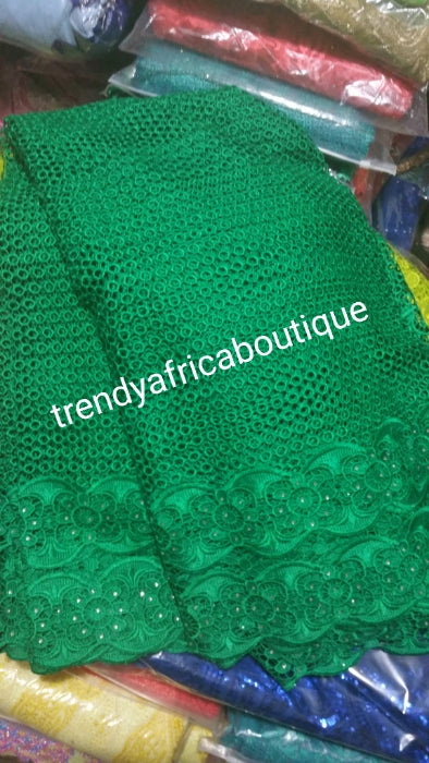 Clearance: super Green Cord-Lace fabric for making african party dress. Sold per 5yds. Super quality Guipure-lace