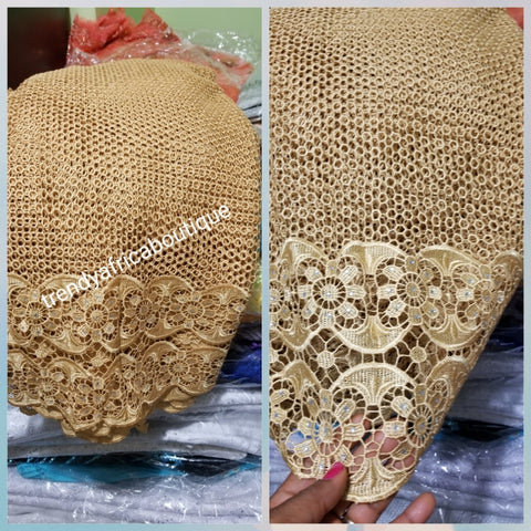 Gold Cord-lace fabric for making african garment. Sold per 5yds. Price is for 5yds. Nigerian guipure lace