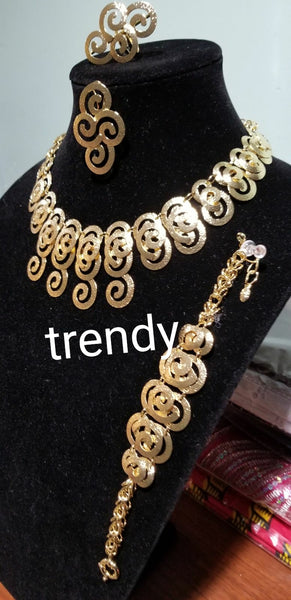 18k Dubia Gold plating in 4pcs choker necklace set. Sold as a set. Price is for the set.