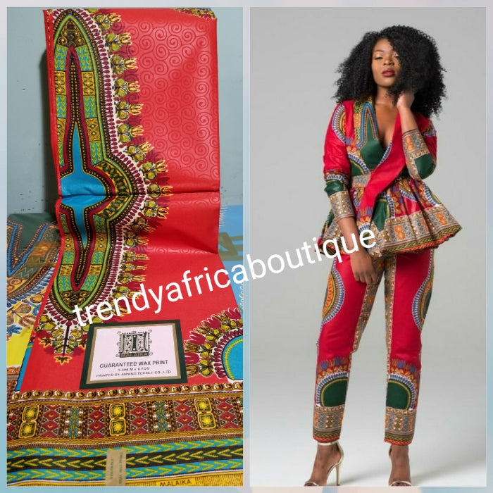 Red Dashiki Ankara African Wax print fabric. 100% cotton ankara. Latest design print for mem or women. Sold per 6yds. Price is for 6yds