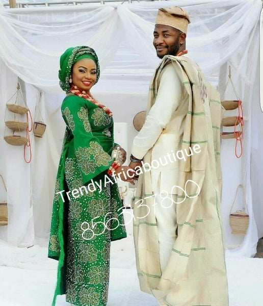 Latest Aso-oke set for Nigerian Traditional ceremonies like weddings. Make-to-order only. Custom-made design. Green/cream. Allow 6-8 weeks for order process