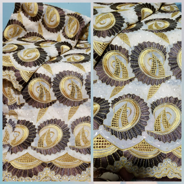 Clearance sale: swiss voile lace fabric for men and women. Sold per 5yds, price is for 5yds beige/chocolate brown. Embriodery lace fabric for African native outfit. Price is for 5yds