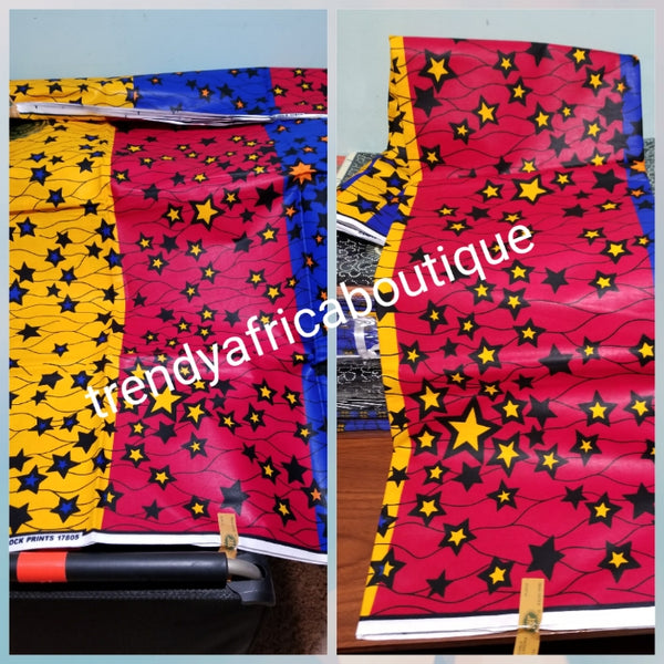 3 color Nigerian Gaurantee wax print yellow star in 3 tone colors  red/royal/yellow. African ankara wax print fabric sold per 6yds. 100% cotton. Hitarget