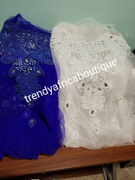 Assorted colors heavily-beaded net for making blouses. Popularly use by for Igbo/Delta/edo  women for big Occasions. Comes in 1.8yds lenght. This design is available in 5 colors.