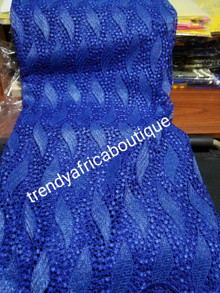 Clearance Item: Royal blue Cord-lace fabric. Soft texture. Nigerian Guipure-lace for making party outfit. Super swiss quality