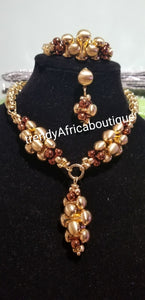 "New 18k gold plated Costum Necklace set. Gold/chocolate brown accent. 3pcs. Bracelet fit 7"" and 8"" wrist. Sold as a set"