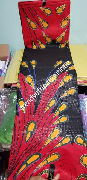 100% Cotton Classic Design Ankara Wax print fabric. Black/Red Original quality African wax print is sold per 6yyds