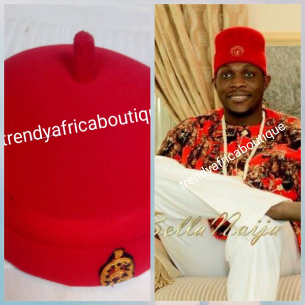 Igbo Traditional cap (Aka Red Cap) for ceremonial dress. Men-cap in red