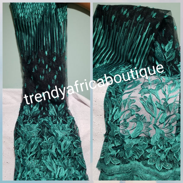 Clearance: Quality African  embriodered French Lace fabric in black/teal. Sold per 5yds. Beaded and stones net french lace, glower border