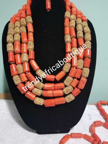 Combo Bride and Groom traditional wedding coral bead set. Original Edo/igbo Celebrant coral for special occasion. But the 2 as a set for man and women or order as individual.. coral-necklace set