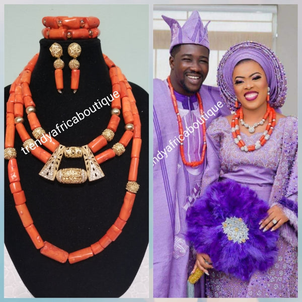 Edo Original coral beaded necklace set for wedding. Coral necklace in choker + ome extra long piece perfect for celebrant. Include 2 bracelets and earrings. Sold as a complete set. Bridal accessories