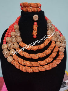 Sale: Special design 4 role coral-necklace set. Included 2 row bracelet and a drop earrings. Nigerian Traditional wedding coral beaded necklace. Edo Bride/celebrant beads. Sold as a set