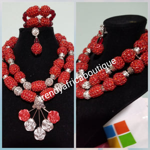 Clearance: 3 piece beaded necklace set in wine/silver beaded coral-necklace set in 2 rows. Beautiful matching pendant . Sold as a set