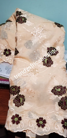 Classic Double Organza African Lace fabric. Wine/green Embriodery work on Beige fabric. Sold per 5yds. This is a Clearance item. Best price for a quality fabric