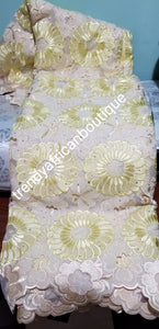 Clearance Item: African embriodery lace fabric in Cream/yellow. Quality Swiss Voile/net lace fabric for making African party wear. Sold per 5yds