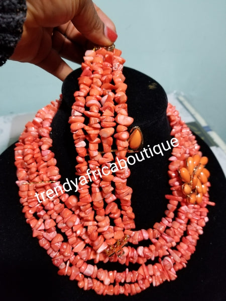 Clearance item: coral beaded necklace set. Made with coral chips. Multi roll Edo/Nigerian traditionsl coral necklace