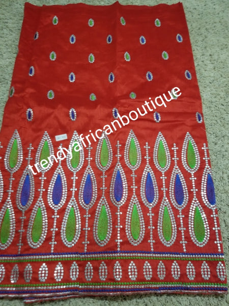 Fine quality Red embriodery premium silk George. Indian-George embrofered with green and royal blue. Igbo/delta George is 5yds