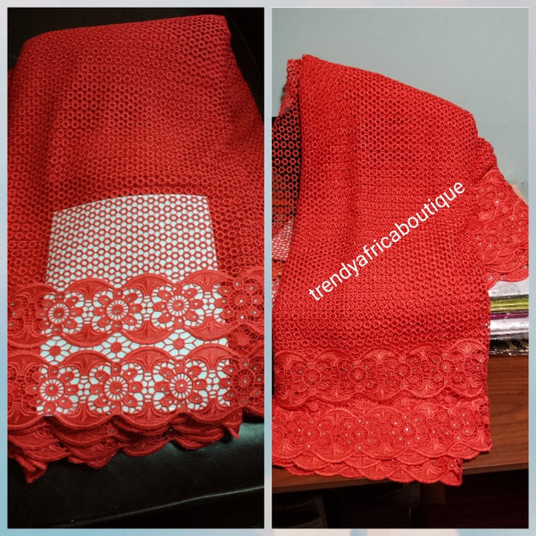 Clearance Item! Red cord-Lace. Super quality embellish with crystal stones. Nigerian Nigerian Guipure/cord lace fabric for making party outfit sold per 5yds. Price is for 5yds
