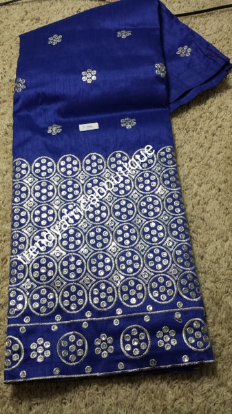 Royal Blue/silver embriodery. Elite Premium Silk George wrapper. Embriodery Indian-George for Nigerian women wrapper. 5yds lenght.