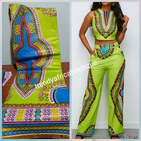 Africa! Dashiki ankara wax print fabric. 100% cotton. Sold in 6 yards, price is for 6yards. Beautiful Green