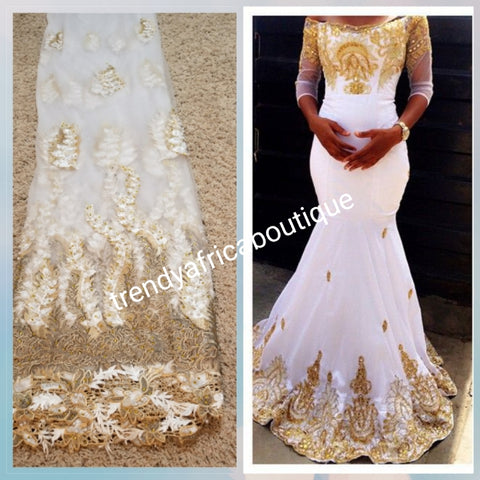 Pure white/Gold net George lace. Classic design with Gold embriodery, beaded and stoned. New arrival African French lace/George lace sold per 5yds