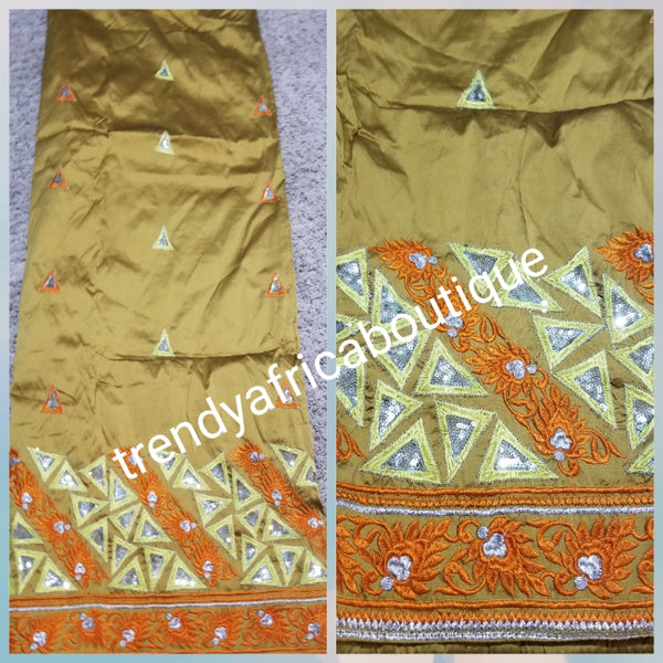 Sale sale: Gold/Orange Embriodery Silk George. Top quality Indian-George for making Nigerian/African party dress. Sold per 5yds. Price is for 5yds.