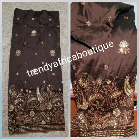 Clearance item: Chocolate brown/Gold  Embriodery silk Geoge fabric. Original quality George for making African party dress. Indian-George sold per 5yards and price is for 5yds