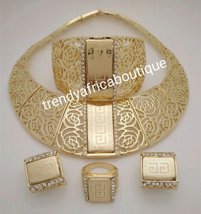 4pcs 18k Dubai costume Gold plated choker necklace set. Matching bangle, earrings, and ring. Sold as a set, price is for the set
