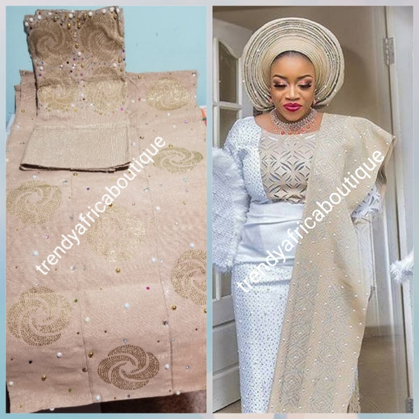 Quality Champagne Gold bedazzled Aso-oke set. Woven in Nigeria. Latest Celebrant Aso-oke for Gele/Ipele (shoulder shawl) /cap piece for men. 3pcs set is sold as a set and price if for the set