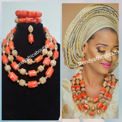 Back in stock: Original Edo /Nigerian coral Beaded-necklace set. 3pcs set of bridal wedding accessories beads latest design with beads stones