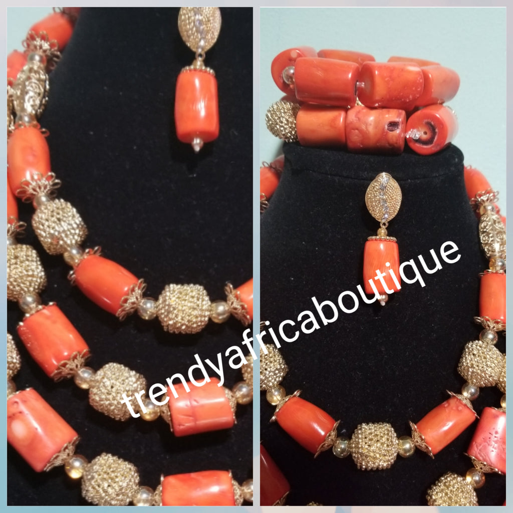 438b0baf55 Back in stock: Original Edo /Nigerian coral Beaded-necklace set. 3pcs set  of bridal wedding accessories beads latest design with beads stones