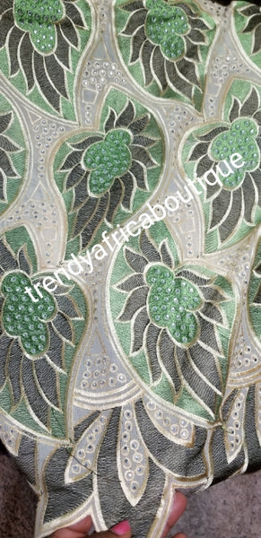 SALE: original quality Swiss voile lace. Classic design at give away price. Sold as 5yds and price is for 5yds. Olive green/beige
