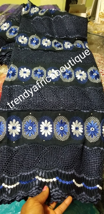 sale: Top quality African lace fabric for making Party outfit for men and women. Rich Navyblue/white/royal blue. Original swiss made voile lace sold per 5yds and price is for 5yds.