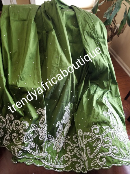 Clearance: hand stoned Silk George wrapper in beautiful olive green and white stoned design. Nigerian/igbo/Delta Bridal george wrapper. 5yds + 1.8yds net matching design for blouse combination. Sold as a set