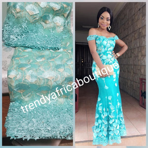 Mint Green French lace fabric. Beautiful lace border with Soft texture. Nigerian Aso-ebi lace. Sold per 5yds price is for 5yds