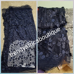 Latest design:Navy blue  handcut sequine African French lace fabric embellished with round petals all over to perfection. Good for Celebrant/red carpet event. Sold per 5yds. Nigerian Bridal Lace