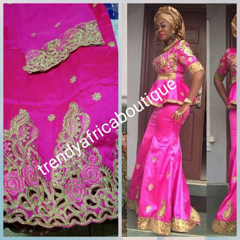 New arrival. Original quality Embroidery silk/stones Silk George wrapper and matching net blouse set. For Nigerian party dresses. Indian-george. Sold per 5yds and 1.8yds net for blouse combinations