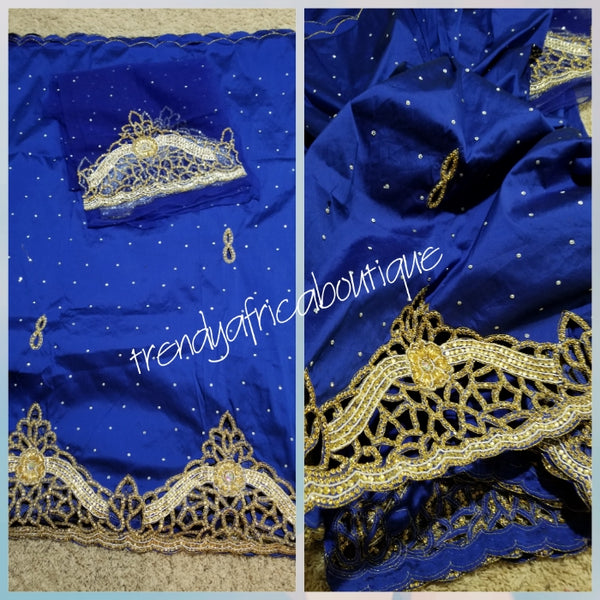 Special offer. Royal blue hand stoned Silk George wrapper for Nigerian/Igbo Bridal outfit. Sold as 5yds wrapper with 1.8yds marchimg net blouse. V.I P George for Nigerian weddings/ceremony