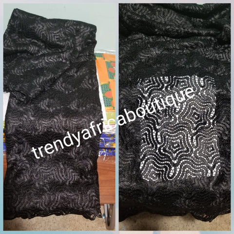 Top quality Black Guipure, Cord-lace fabric. Luxury super quality, soft texture beautiful design for Nigerian/African party outfit. Sold per 5yds, price is for 5yds. Super swiss made Cord lace