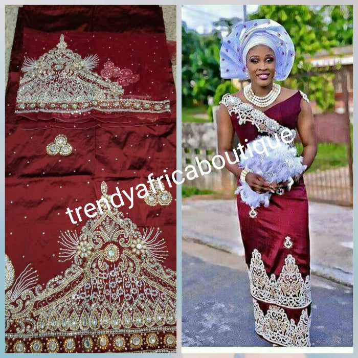 Sale: VIP madam George wrapper. All hand stoned and beaded Silk George for Nigerian Traditional weddings. Sold with matching blouse