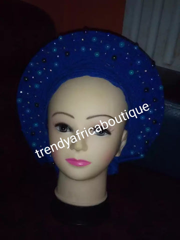 Nigerian latest auto-gele in Royal blue. Beaded and stoned. Made with quality Aso-oke. Party ready in a few seconds. No more wahala trying to tie your gele