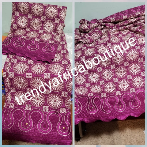 Exclusive swiss lace fabric in magenta color.  Nigerian traditional celebrant Swiss lace embroidered with quality, soft beautiful design. Sold per 5yds