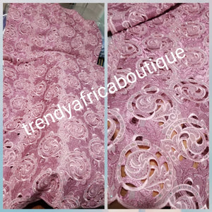 Original quality Organza Swiss lace fabric for making Nigerian outfit. Classic lace for big Nigerian event.Sold as 5yds., price is for 5yds. Beautiful pink,  hand cut organza swiss lace