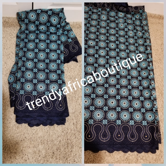 Sale Sale: VIP swiss embriodery voile lace. Exclusive quality Navy blue/turquoise.  Sold per 5yds. Price is for 5yds. Nigerian celebrant swiss lace.