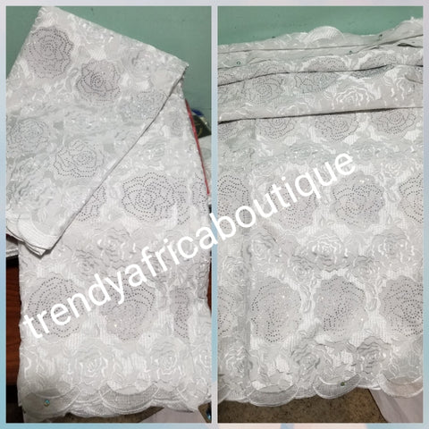 Exclusive White/white Nigerian wedding swiss Lace fabric. Quality embroidery white lace. Embellish with dazzling crystals