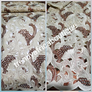 Quality swiss lace fabric in champagne/chocolate embroidery. All over crystal stones. Celebrant swiss lace for Nigerian party outfit. Sold per 5yds